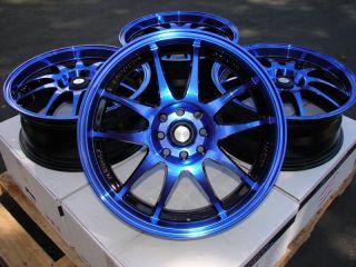 15 Blue Black Effect Wheels Rims 4x100 Yaris Integra Aveo Cobalt Civic