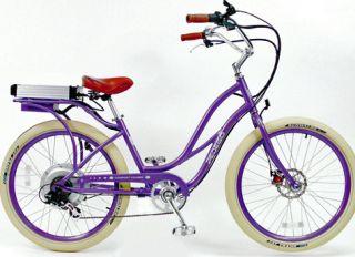 Pedego Electric Cruiser Bicycle Bike Purpleframe Purplerims Creme