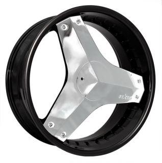 22 inch Rims and Tires Wheels Starr 357 Killa Black Chrome Dodge 20 24