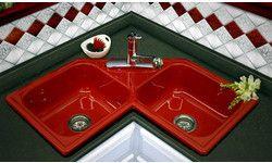 CorStone Harmony Self Rim Double Bowl Corner Kitchen Sink Red