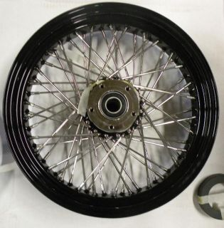 NEW DNA 60 SPOKE SS BLACK RIM HUB 21X2 15 FRONT WHEEL HARLEY SOFTAL 07