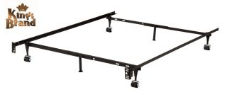 Metal Twin Full Queen Bed Frame w Rug Rollers Locking Wheels