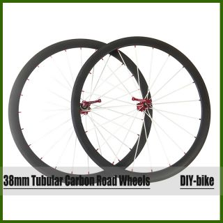 38mm Tubular Carbon Road Bike Wheels 700c Carbon Wheelset