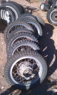 Lot 6 Vintage Motorcycle Rims Brake Hub Enduro Dirt Bike Complete