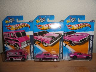 Hot Wheels Pink 3 Car Lot Thunderbolt Firebird 400 Combat Medic