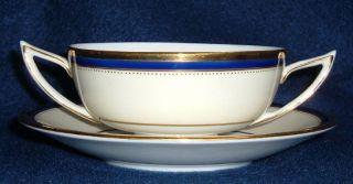 Windsor Pattern Cobalt Blue and Gold Rim Cream Soup Bowls W Saucer