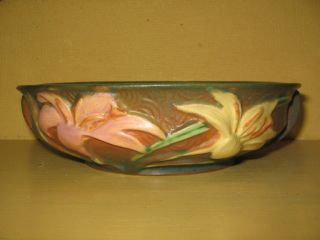 Roseville Pottery Green Brown Pink Yellow Zephyr Lily Low Bowl 472 6