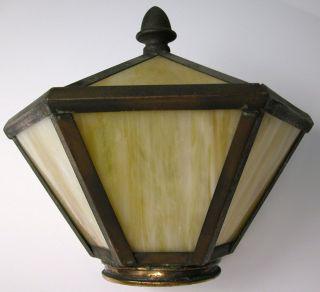 Antique Slag Art Glass Panel Lamp Fitter Shade Hall Porch Vtg Fixture