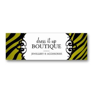 Zebra Print Jewellery Designer Hang Tags Business Card
