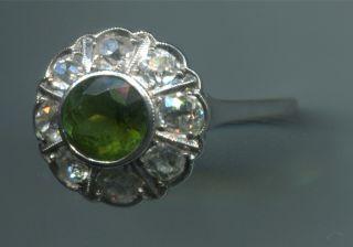 Gold Ring 8 Diamanten Altschliff+grünerTurmalin 54 17,2mm