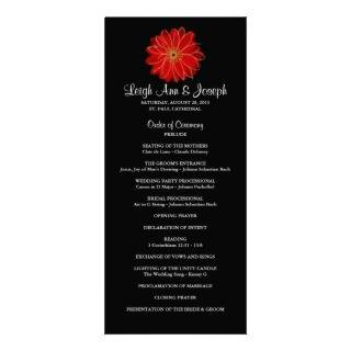Elegant Red Gerber Daisy Wedding Program  RackCard Rack Card