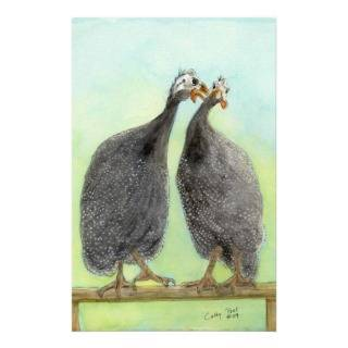 Guinea Kisses Hen Rooster Farm Animal Art Painting Stationery Paper