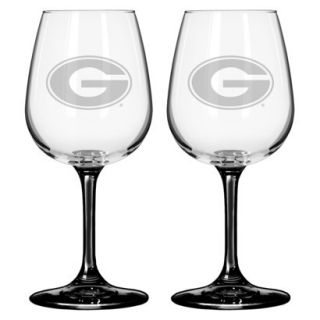 Boelter Brands NCAA 2 Pack Georgia Bulldogs Satin Etch Wine Glass   12 oz