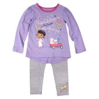 Disney Infant Toddler Girls Doc McStuffins Top and Bottom Set   Purple 12 M