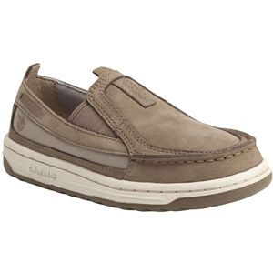 Timberland Kids Ryan Springs Leather and Fabric Slip On Boat Toddler Greige Nubuck Shoes   3586R