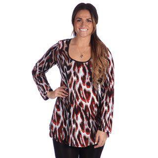 24/7 Comfort Apparel Plus Size Animal Print Long Sleeve Tunic