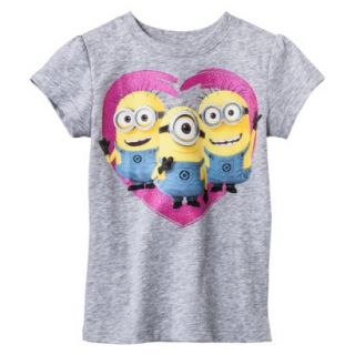 Despicable Me Infant Toddler Girls Short Sleeve Minion Heart Tee   Grey 2T