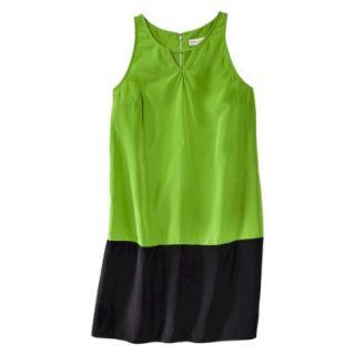 Merona Womens Colorblock Hem Shift Dress   Zuna Green/Black   S