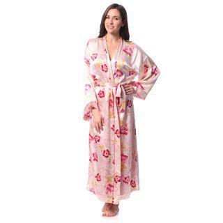 Julianna Rae Womens Rose Memories Long Silk Robe