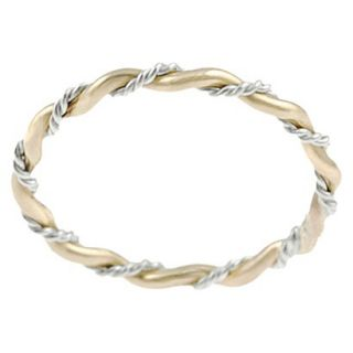 Tressa Collection Sterling Silver and Goldfill Twist Ring   Gold 8