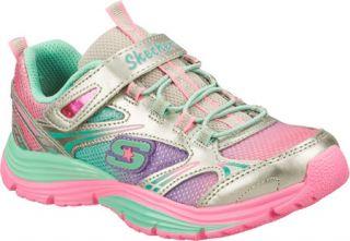 Infant/Toddler Girls Skechers Lite Shinez Swiftkicks   Silver/Multi Slip on Sho