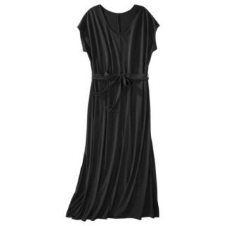 Merona Womens Plus Size Short Sleeve V Neck Maxi Dress   Black 4