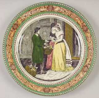 Adams China Cries Of London (Green & Brown Rim) Luncheon Plate, Fine China Dinne