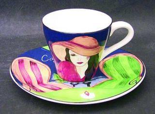 Sango Cafe Paris Flat Cup & Saucer Set, Fine China Dinnerware   Various Women In