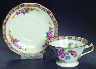 Black Knight Palmero Footed Cup & Saucer Set, Fine China Dinnerware   Multisided