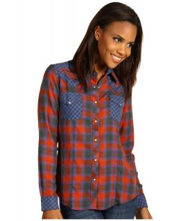 Ryan Michael Classic Western Shirt Womens Long Sleeve Button Up (Orange)