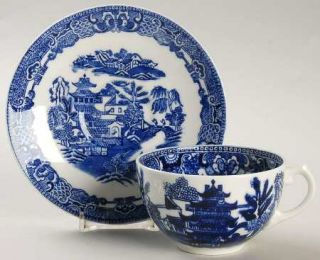 Coalport Willow, The Blue (Newer,Bone) Flat Cup & Saucer Set, Fine China Dinnerw