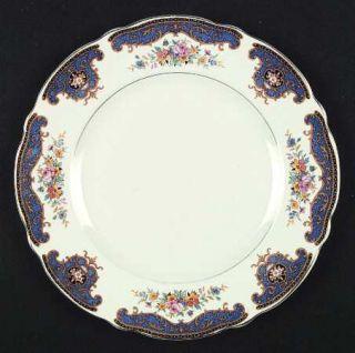 Thomas Hughes 5602 Dinner Plate, Fine China Dinnerware   Blue Panels, Tan    Scr