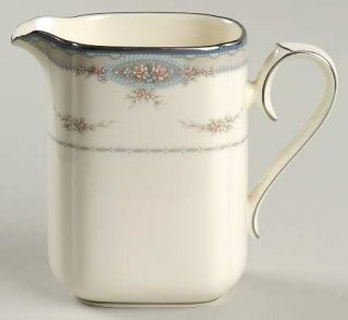 Noritake Impetuous Creamer, Fine China Dinnerware   Gray Border,Flower Swags,Pla