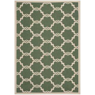 Safavieh Indoor/ Outdoor Moroccan Courtyard Dark Green/ Beige Rug (53 X 77)