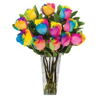 Rainbow Roses with Vase   12 Stems