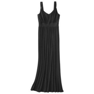 Merona Womens Knit V Neck Ruched Waist Maxi Dress   Black   L