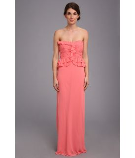 Donna Morgan Sweetheart Long Gown With Peplum Top Dress Womens Dress (Pink)