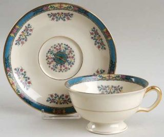 Black Knight Tangiers Footed Cup & Saucer Set, Fine China Dinnerware   Blue Bord