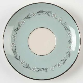 Franciscan Del Rio Saucer, Fine China Dinnerware   White/Pink Flowers,Aqua Rim,P