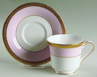 Mary Kay Mak1 Footed Cup & Saucer Set, Fine China Dinnerware   Gold Encrusted Ba