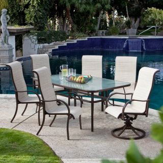 Hayneedle Coral Coast Del Rey 72 x 42 in. Rectangle Glass Top Patio Dining