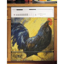 Appliance Arts Painted Blue Rooster Dishwasher Cover