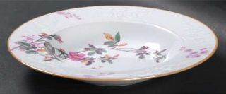 Spode Roberta Orange (Smooth) Rim Soup Bowl, Fine China Dinnerware   Pink Flower