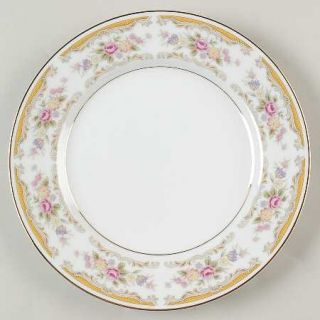 Montgomery Ward Chippendale Salad Plate, Fine China Dinnerware   Floral Rim,Tan