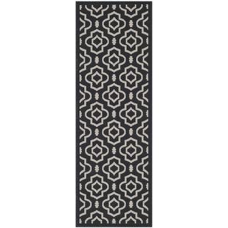 Safavieh Contemporary Indoor/ Outdoor Courtyard Black/ Beige Rug (23 X 67)