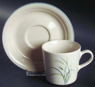 Corning Coastal Breeze Flat Cup & Saucer Set, Fine China Dinnerware   Corelle,Bl