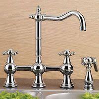 Mico 7743 C4 SN Simone Two Handle Bridge Kitchen Faucet with Side Spray