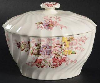 Spode Fairy Dell (Swirled) Sugar Bowl & Lid, Fine China Dinnerware   Multicolor