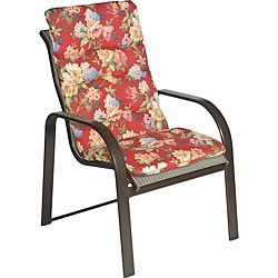 Ali Patio Polyester Crimson Red Floral Tufted Hi back Outdoor Arm Chair Cushion (Crimson red with accents of hunter green, sage green, rose red, beige, tan, cream, light blue, steel blueMaterial: Tufted polyester fabricFill: 2 inches of polyester fiberClo