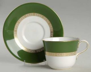 Royal Crown Derby Antigua Flat Cup & Saucer Set, Fine China Dinnerware   Green B